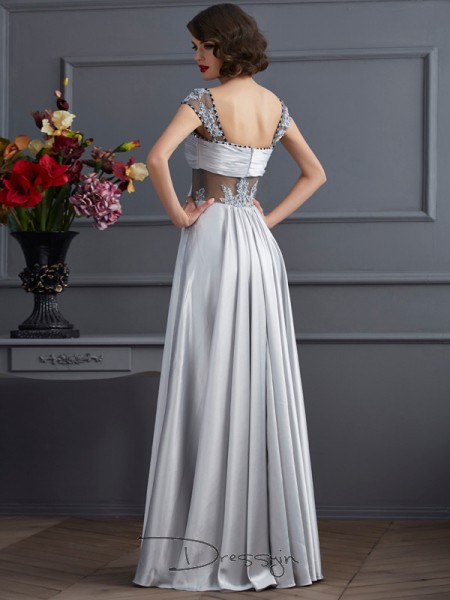 A-Line/Princess Sleeveless Off-the-Shoulder Pleats Elastic Woven Satin Floor-Length Dress