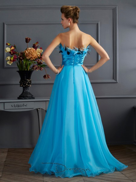 A-Line/Princess Sleeveless Strapless Chiffon Floor-Length Dress