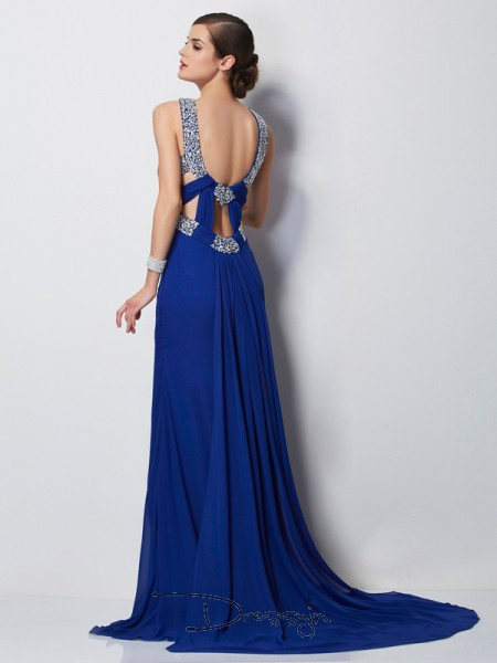 Sheath/Column Sleeveless High Neck Beading Chiffon Long Dress