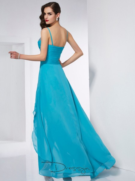 A-Line/Princess Sleeveless Spaghetti Straps Chiffon Asymmetrical Dress