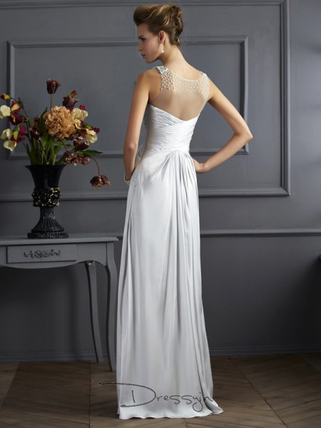 A-Line/Princess Sleeveless Straps Beading Silk like Satin Floor-Length Dress