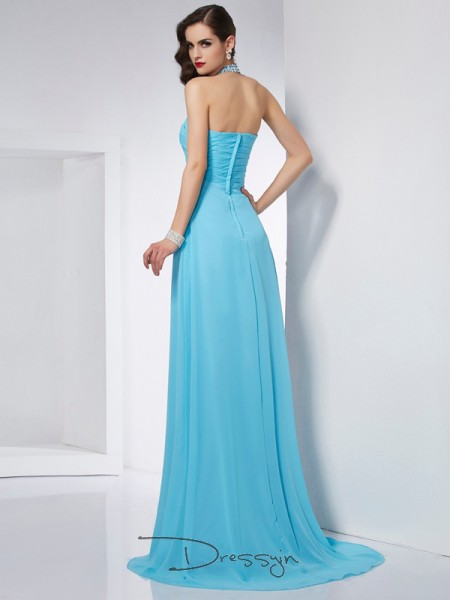 A-Line/Princess Sleeveless Halter Chiffon Long Dress