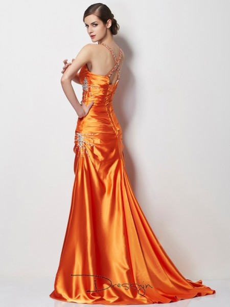 A-Line/Princess Sleeveless Spaghetti Straps Beading Elastic Woven Satin Long Dress