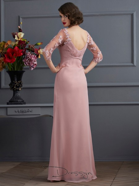A-Line/Princess 1/2 Sleeves Sweetheart Beading Applique Chiffon Floor-Length Dress