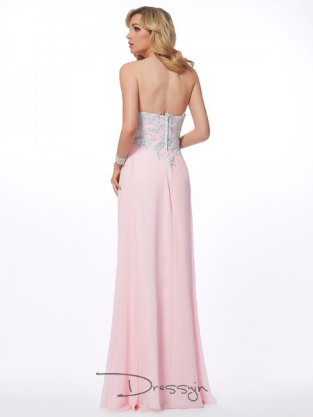 Sheath/Column Sleeveless Sweetheart Beading Applique Chiffon Floor-Length Dress