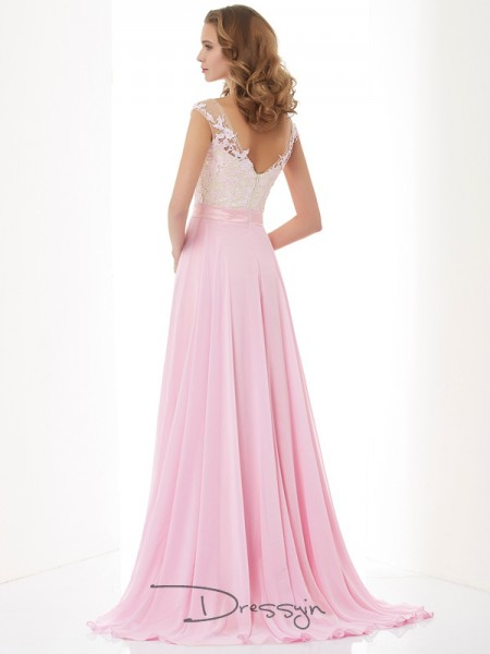 A-Line/Princess Sleeveless Straps Beading Applique Chiffon Long Dress