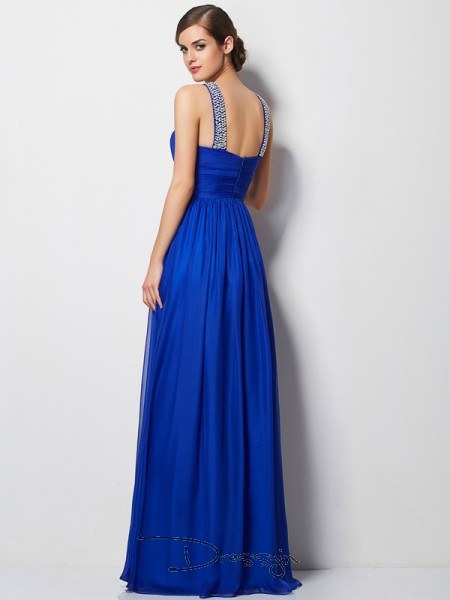A-Line/Princess Sleeveless V-neck Beading Chiffon Floor-Length Dress