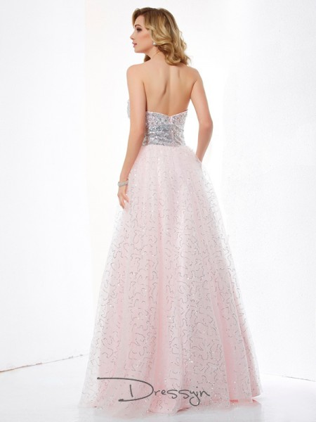 Ball Gown Sleeveless Sweetheart Net Satin Floor-Length Dress