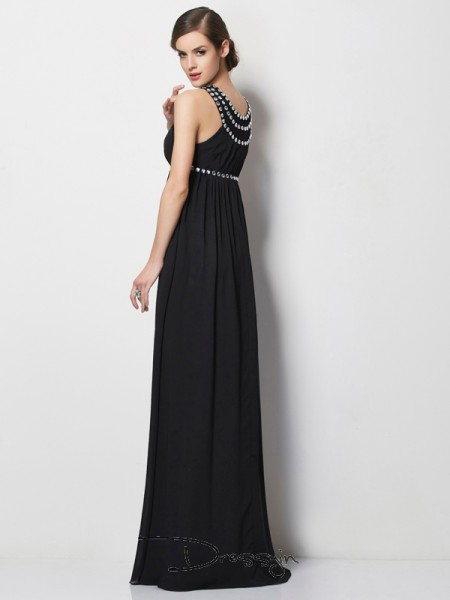 Sheath/Column Sleeveless High Neck Beading Chiffon Floor-Length Dress