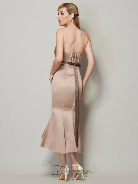Sheath/Column Sleeveless Strapless Sash/Ribbon/Belt Satin Tea-Length Dress