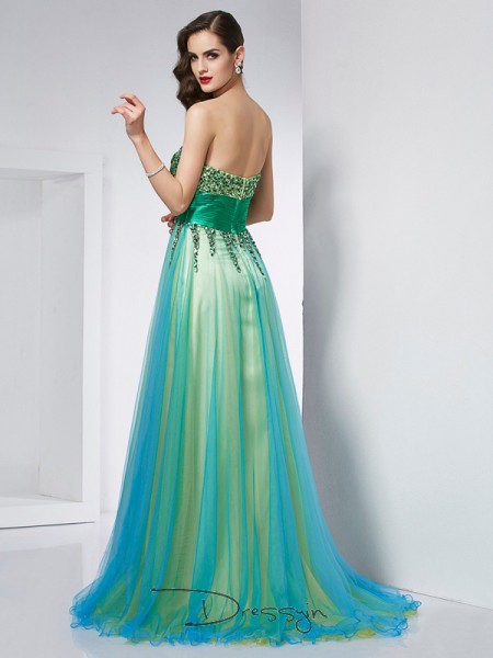 Ball Gown Sleeveless Sweetheart Ruffles Elastic Woven Satin Net Long Dress