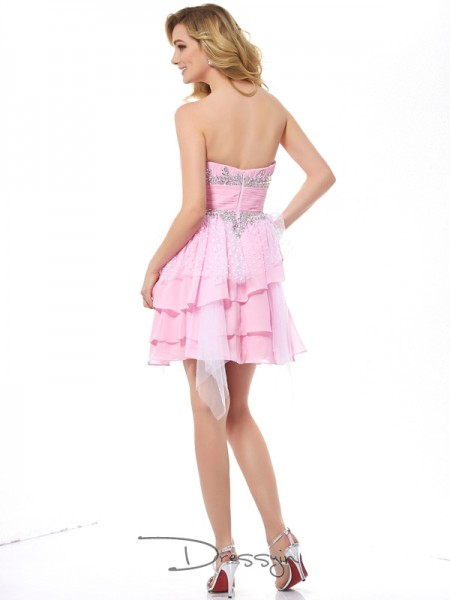 A-Line/Princess Sleeveless Sweetheart Beading Chiffon Net Short Dress