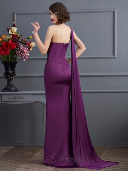 Sheath/Column Sleeveless One-Shoulder Chiffon Long Dress