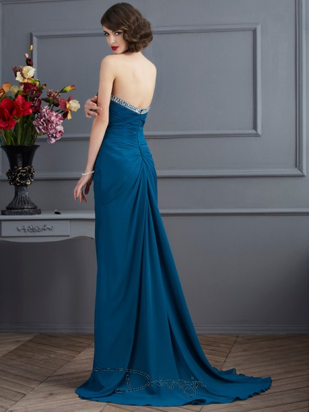 Sheath/Column Sleeveless Sweetheart Chiffon Long Dress