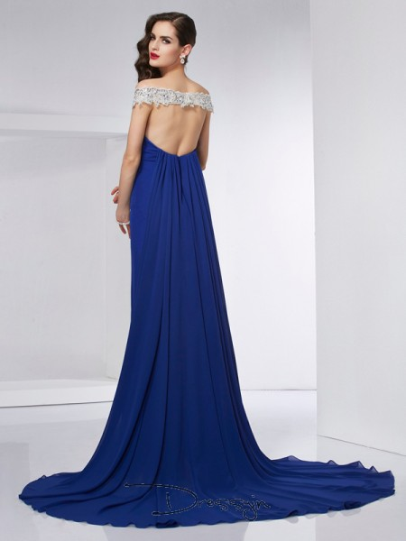 Trumpet/Mermaid Sleeveless Off-the-Shoulder Applique Chiffon Floor-Length Dress