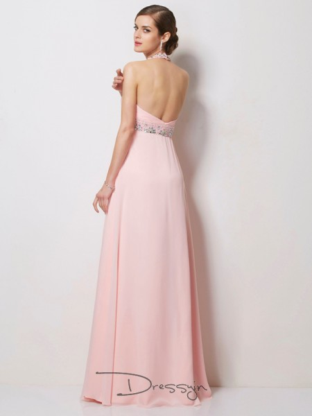 A-Line/Princess Sleeveless Halter Beading Chiffon Floor-Length Dress