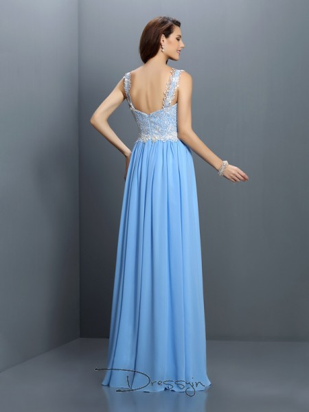 A-Line/Princess V-neck,Straps Sleeveless Chiffon Long Bridesmaid Dress