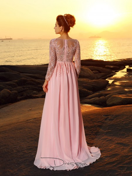 A-Line/Princess Bateau Long Sleeves Chiffon Beading Long Dress