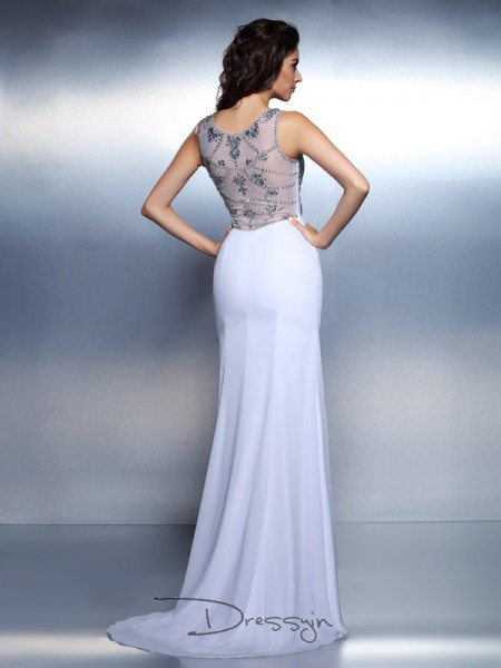 Trumpet/Mermaid Bateau Sleeveless Chiffon Beading Long Dress