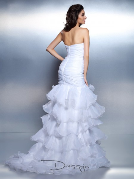 Trumpet/Mermaid Strapless Sleeveless Organza Beading Ruched Long Dress