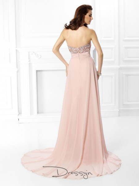 A-Line/Princess Sweetheart Sleeveless Chiffon Beading Long Dress