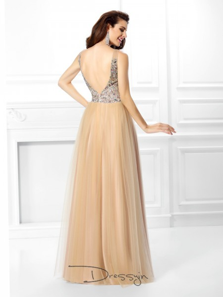 Ball Gown V-neck Sleeveless Satin Beading Sequin Long Dress