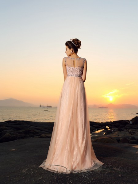 A-Line/Princess Bateau Sleeveless Chiffon Long Dress