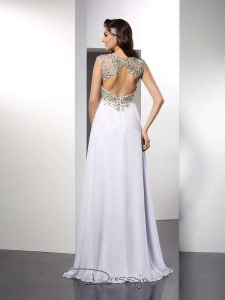 A-Line/Princess Bateau Sleeveless Chiffon Ruffles Long Dress