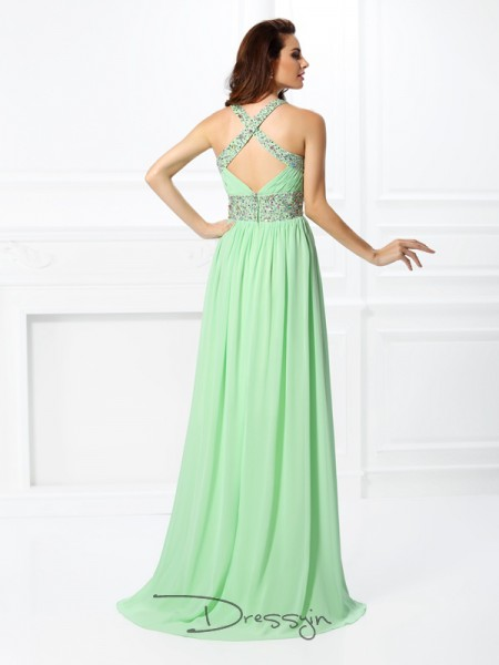 A-Line/Princess V-neck,Straps Sleeveless Chiffon Beading Long Dress