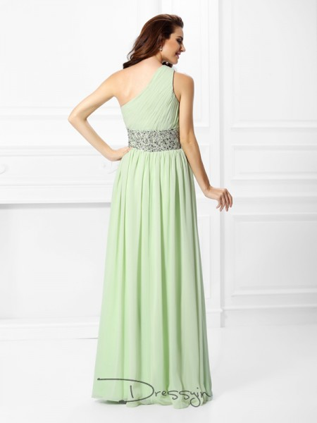 A-Line/Princess One-Shoulder Sleeveless Chiffon Beading Long Dress