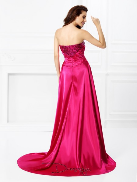 A-Line/Princess Sweetheart Sleeveless Elastic Woven Satin Beading Paillette Asymmetrical Dress
