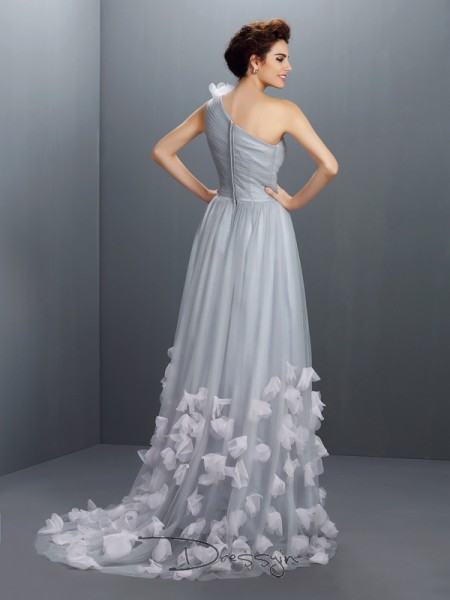 A-Line/Princess One-Shoulder Sleeveless Net Hand-Made Flower Long Dress