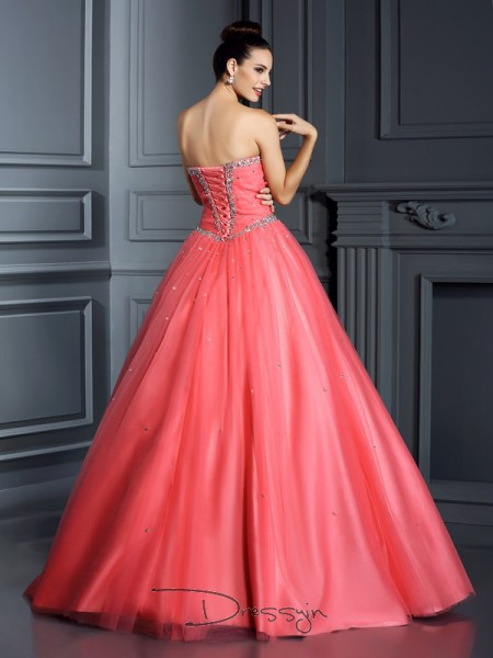 Ball Gown Sweetheart Sleeveless Net Beading Long Dress