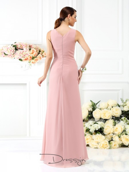 Sheath/Column V-neck Sleeveless Chiffon Pleats Long Bridesmaid Dress