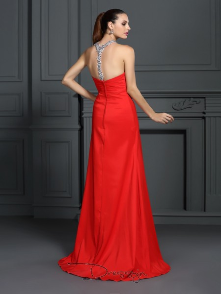 A-Line/Princess High Neck Sleeveless Elastic Woven Satin Beading Long Dress