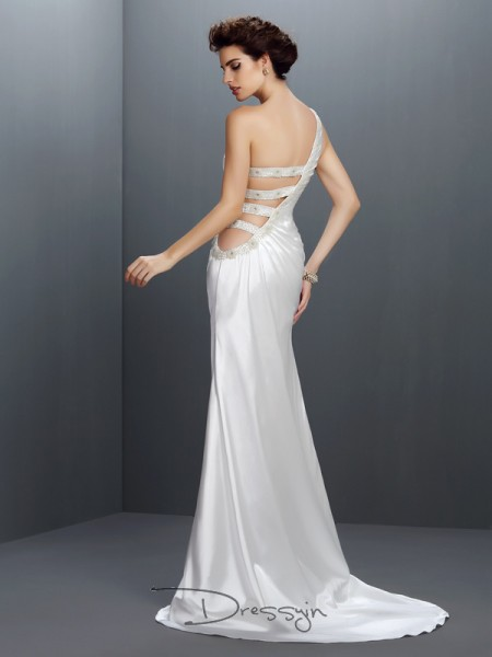 Trumpet/Mermaid One-Shoulder Sleeveless Elastic Woven Satin Beading Long Dress