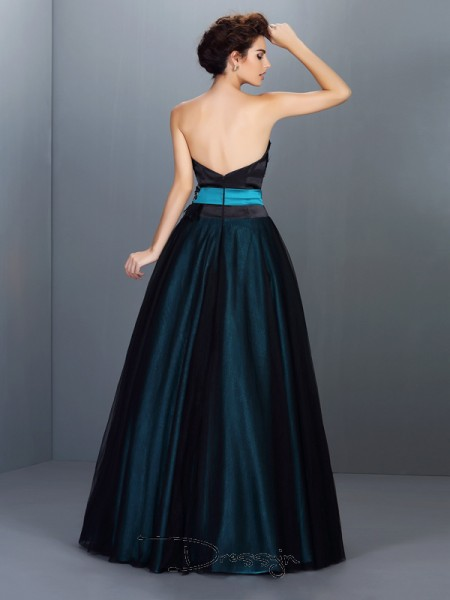 Ball Gown Strapless Sleeveless Elastic Woven Satin Feathers/Fur Long Dress