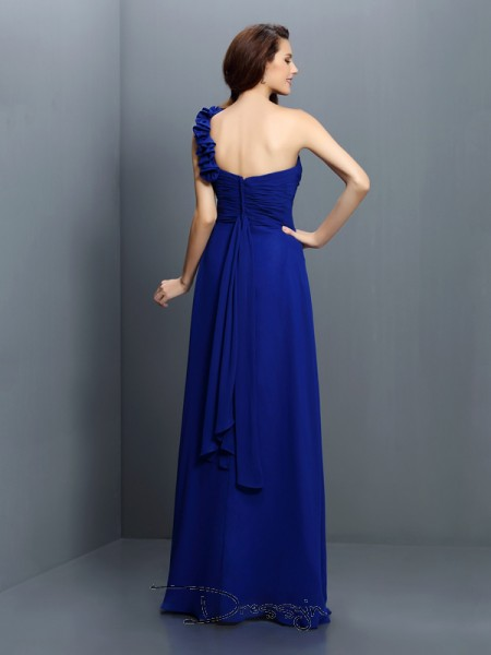 A-Line/Princess One-Shoulder Sleeveless Chiffon Hand-Made Flower Long Bridesmaid Dress