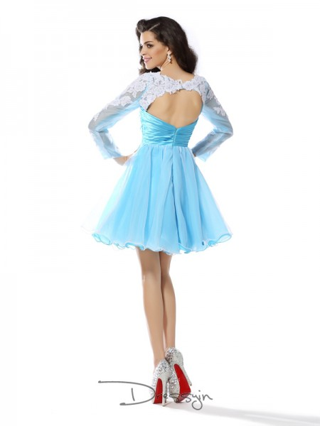 A-Line/Princess Scoop Long Sleeves Elastic Woven Satin Applique Short Dress