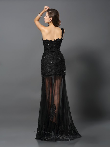 Sheath/Column One-Shoulder Sleeveless Lace Applique Long Dress