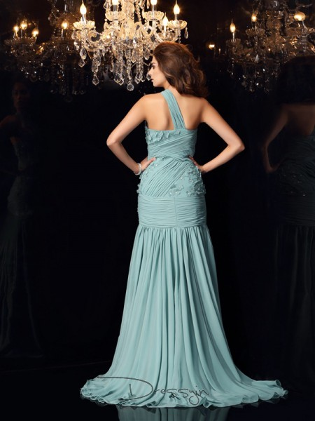 Trumpet/Mermaid One-Shoulder Sleeveless Chiffon Long Dress