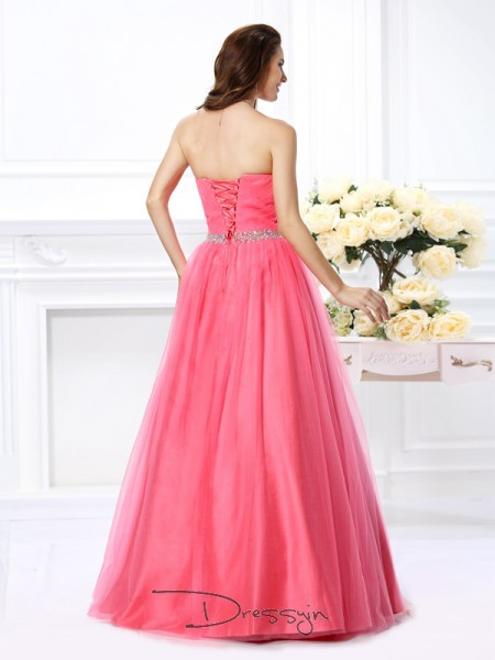 Ball Gown Sweetheart Sleeveless Satin Pleats Beading Long Dress