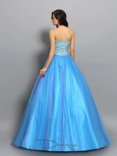 Ball Gown Sweetheart Sleeveless Elastic Woven Satin Beading Long Dress