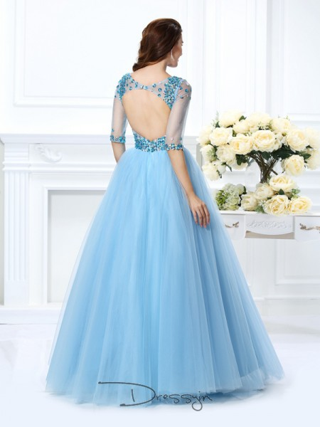 Ball Gown V-neck 1/2 Sleeves Satin Beading Long Dress