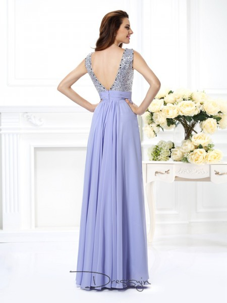 A-Line/Princess Bateau Sleeveless Chiffon Paillette Long Dress