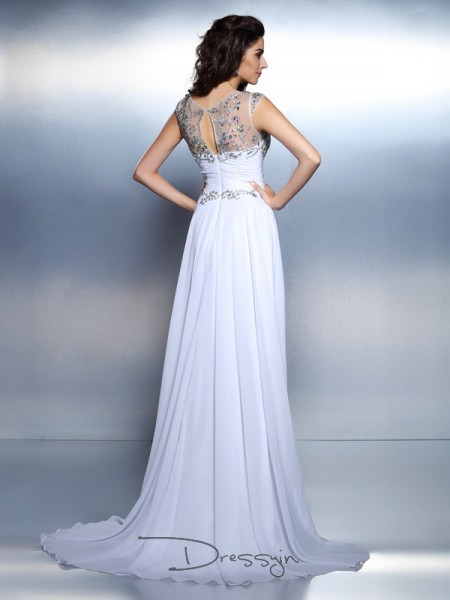A-Line/Princess Scoop Sleeveless Chiffon Beading Rhinestone Long Dress