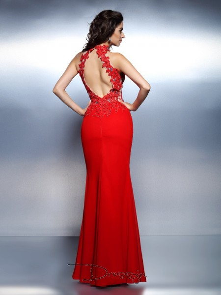 Trumpet/Mermaid High Neck Sleeveless Satin Beading Long Dress