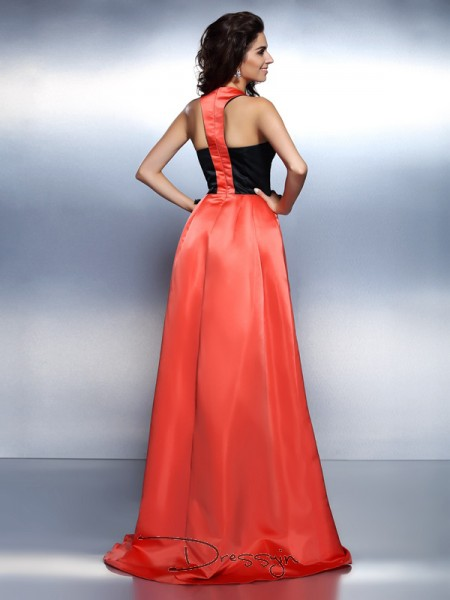 A-Line/Princess High Neck Sleeveless Satin Long Dress