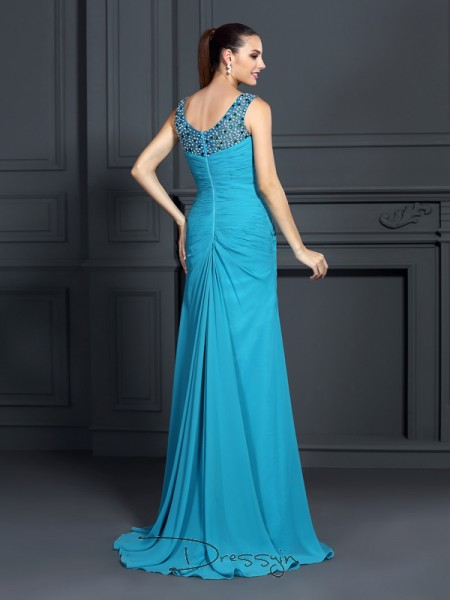 Trumpet/Mermaid Straps Sleeveless Chiffon Ruffles Long Dress