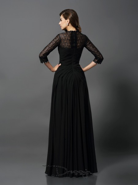 A-Line/Princess Bateau 3/4 Sleeves Lace Long Dress